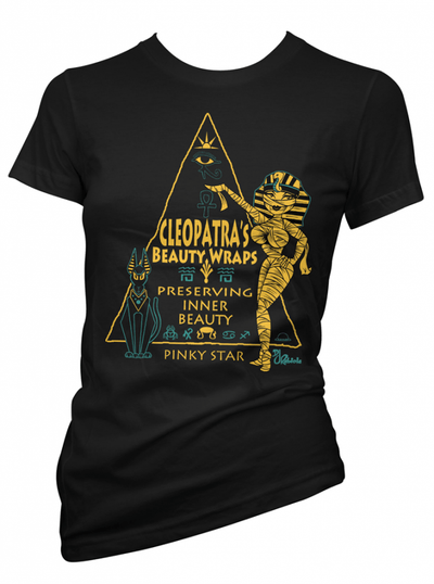 "Women's ""Cleopatra's Beauty Wraps"" Tee by Pinky Star (Black) - www.inkedshop.com"