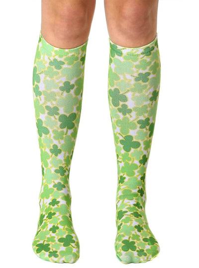 """4 Leaf Clover"" Knee High Socks (Green)"