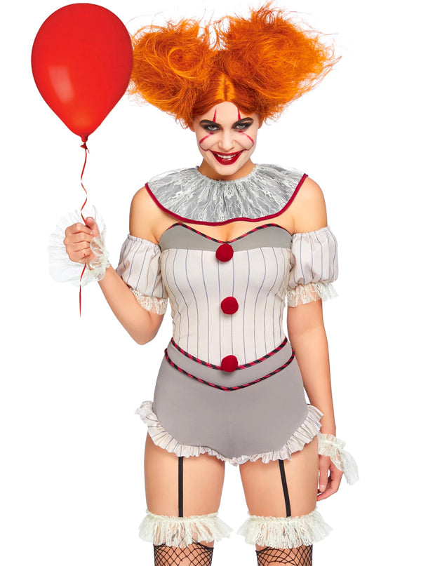 "Women's ""Killer Sewer Clown"" Costume by Leg Avenue (Grey)"