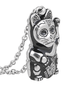 "Women's ""Day Of The Dead Maneki-Neko"" Necklace by Controse (Silver/Black) - www.inkedshop.com"