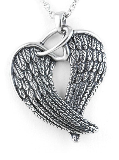 """Steel Wings & Halo"" Necklace by Controse (Silver) - www.inkedshop.com"
