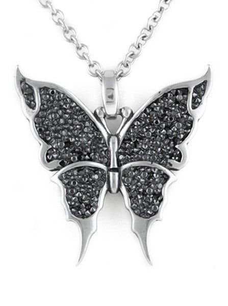 """Black & Bright Butterfly"" Necklace by Controse (Silver) - www.inkedshop.com"