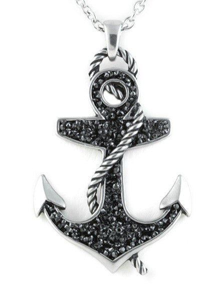 """Black Stoned Anchor"" Necklace by Controse (Silver) - www.inkedshop.com"