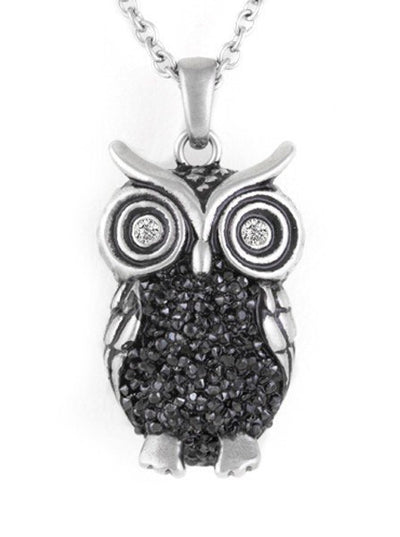 """Night Bright Owl"" Adorned with Swarovski Crystals Necklace by Controse (Silver) - www.inkedshop.com"