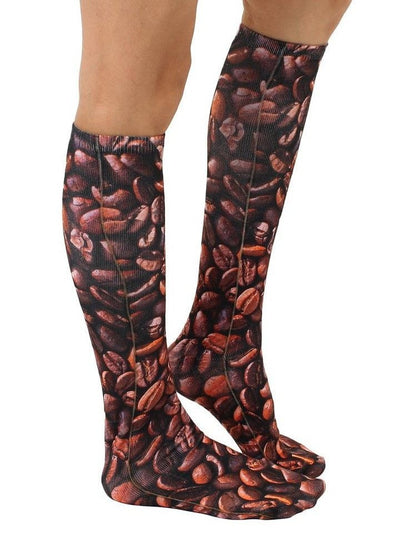 """Coffee Bean"" Knee High Socks (Brown) - www.inkedshop.com"