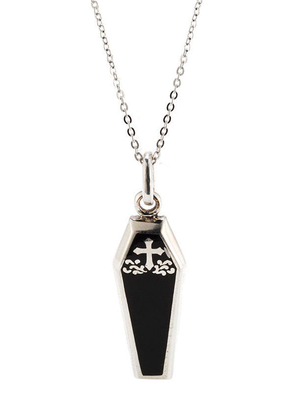 """Black Coffin"" Necklace by Silver Phantom Jewelry"