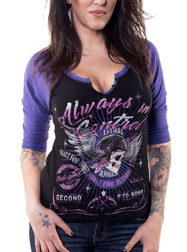 "Women's ""Always in Control"" Raglan Tee by Lethal Angel (Black)"