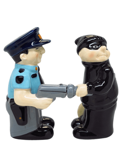 """Cop and Robber"" Salt and Pepper Set by Pacific Trading - www.inkedshop.com"