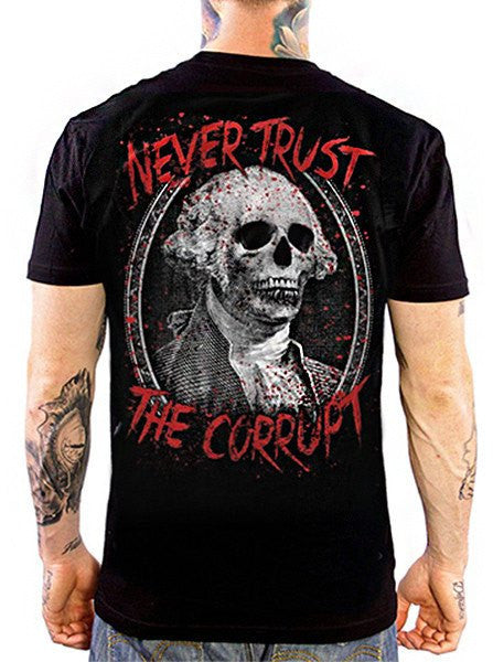 "Men's ""Never Trust The Corrupt"" Tee by Skygraphx (Black) - www.inkedshop.com"