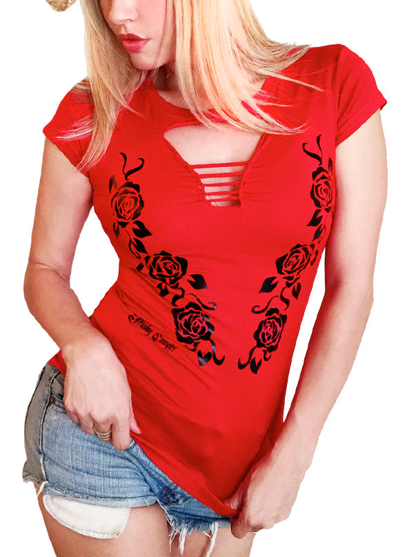 Women's Country Rose Slashed Tee by Trashy Cowgirl (Red)