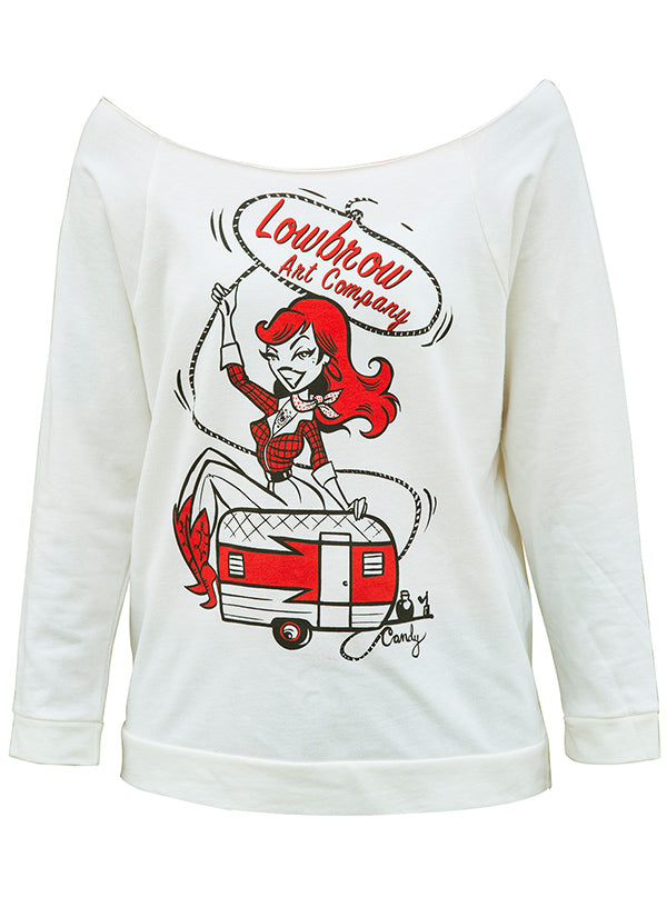 Women's Cow Girl Up Unfinished Scoop Neck Sweatshirt by Lowbrow Art Company (Ivory)