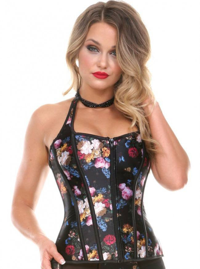 In House Masters Print Corset By Bedroom Stories Black