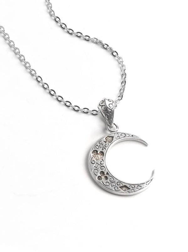 Crescent Moon Necklace by Silver Phantom Jewelry