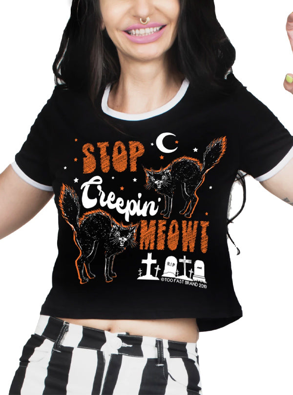 Women's Stop Creepin' Meowt Ringer Crop Tee by Too Fast