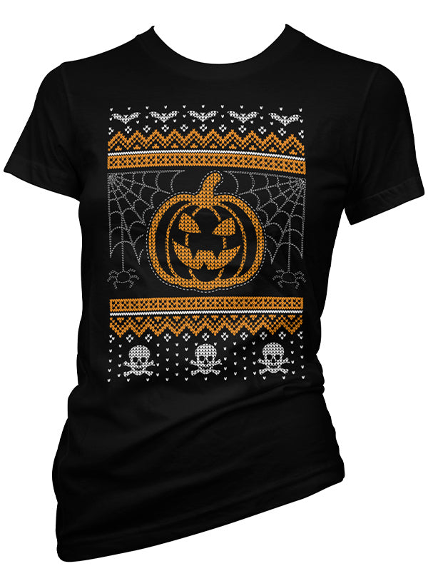 Women's Creepy Ugly Christmas Sweater Tee by Cartel Ink