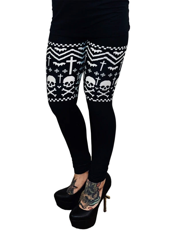 Women's Thigh High Bats & Bones Sweater Leggings by Too Fast