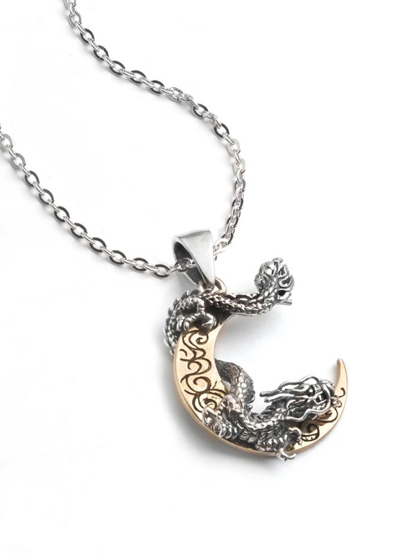 Crescent Moon & Dragon Necklace by Silver Phantom Jewelry