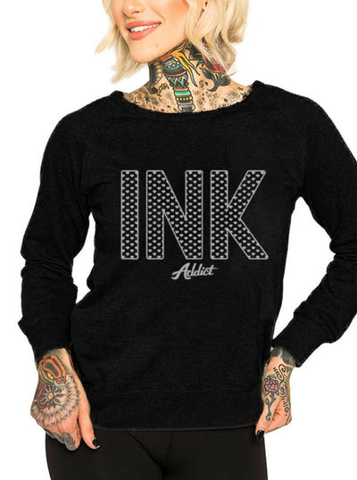 Women's INK Hearts Crew Sweatshirt by InkAddict