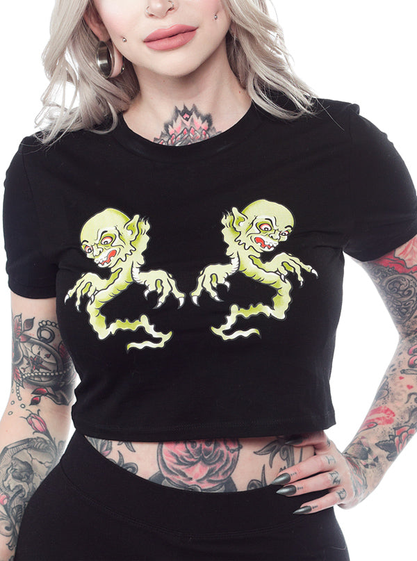 Women's Twin Ghouls Crop Top by Sourpuss