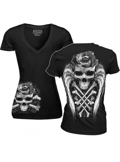 "Women's ""Crossed Rose Skull"" V Neck Tee by Skygraphx (Black) - www.inkedshop.com"