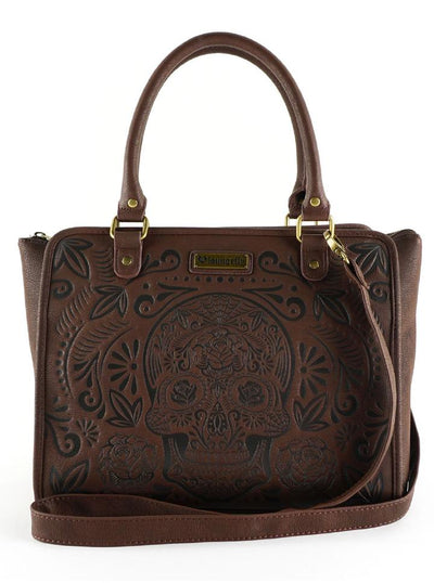 """Sugar Skull"" Crossbody Bag by Loungefly (Brown)"