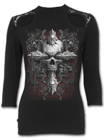 "Women's ""Cross of Darkness"" Lace Shoulder Top by Spiral USA (Black)"