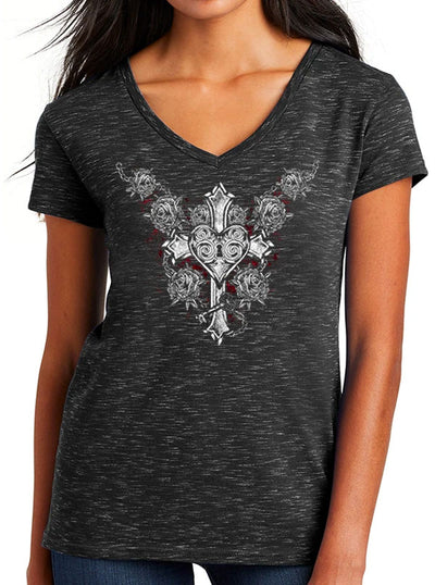 Women's Cross Your Heart V-Neck Tee by Tat Daddy