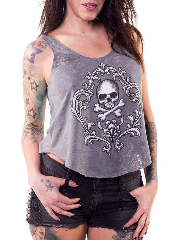 Women's Skull N Crossbones Burn Out Drape Tank by Lethal Angel