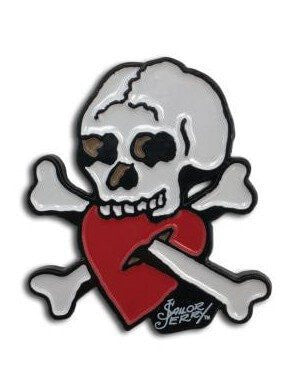 """Crossed Up"" Enamel Pin by Sailor Jerry (White) - www.inkedshop.com"