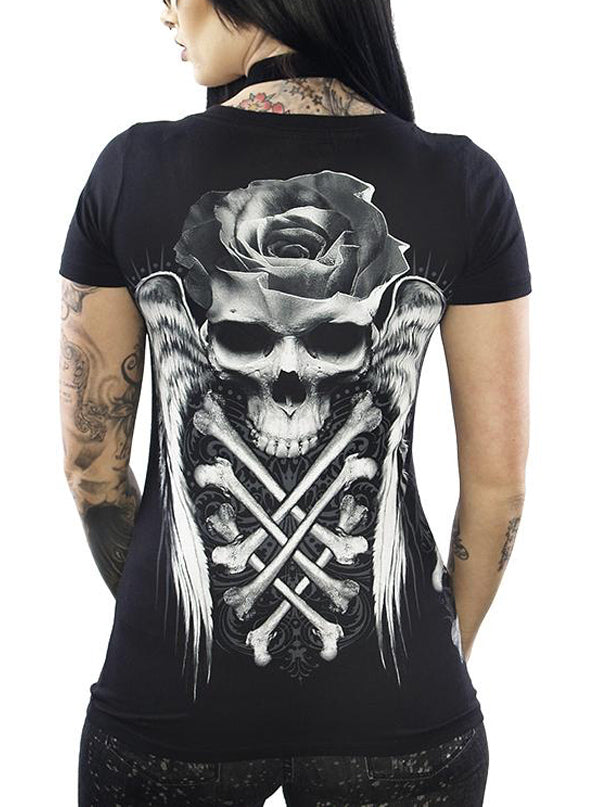 Women's Crossed Rose Skull V Neck Tee by Skygraphx