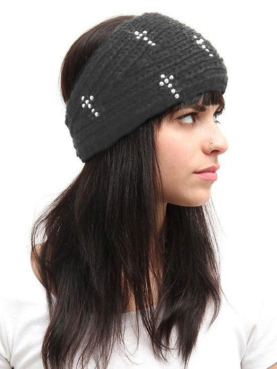 "Women's ""Beaded Cross Detail"" Knit Headband - InkedShop - 1"