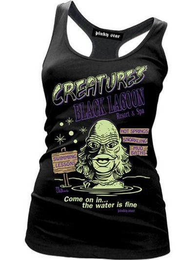 "Women's ""Creature's Black Lagoon Resort and Spa"" Tank by Pinky Star (Black) - www.inkedshop.com"