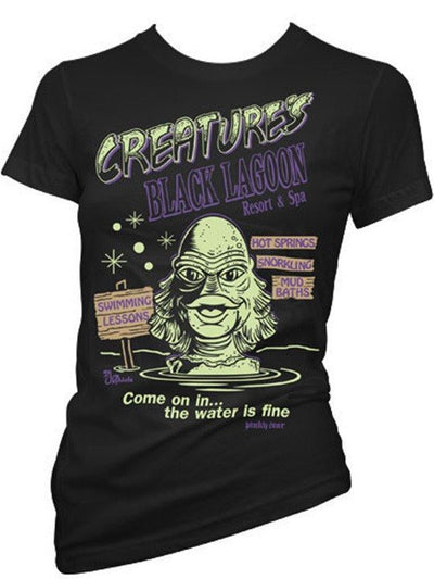 "Women's ""Creature's Black Lagoon Resort and Spa"" Tee by Pinky Star (Black) - www.inkedshop.com"