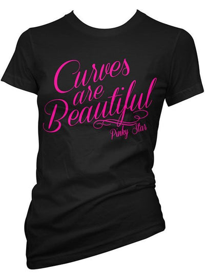 "Women's ""Curves Are Beautiful"" Tee by Pinky Star (Black) - www.inkedshop.com"