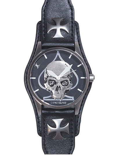 """Skull and Spade"" Watch by Controse (Black) - www.inkedshop.com"