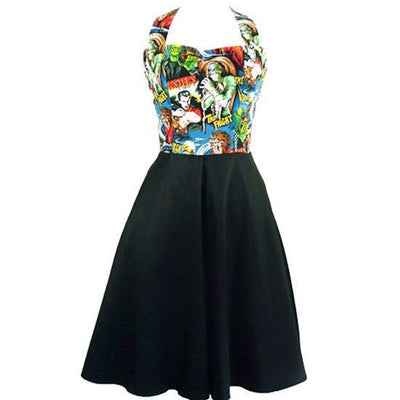"Women's ""Classic Monster"" Full Swing Skirt Pinup Dress by Hemet (Black) - www.inkedshop.com"