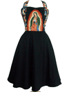 "Women's ""Guadalupe"" Full Swing Skirt Dress by Hemet (Black) - www.inkedshop.com"