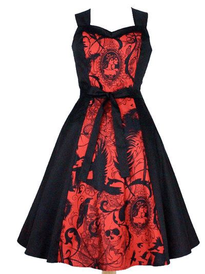 Women's Steampunk Dress by Hemet (Black/Red) - www.inkedshop.com