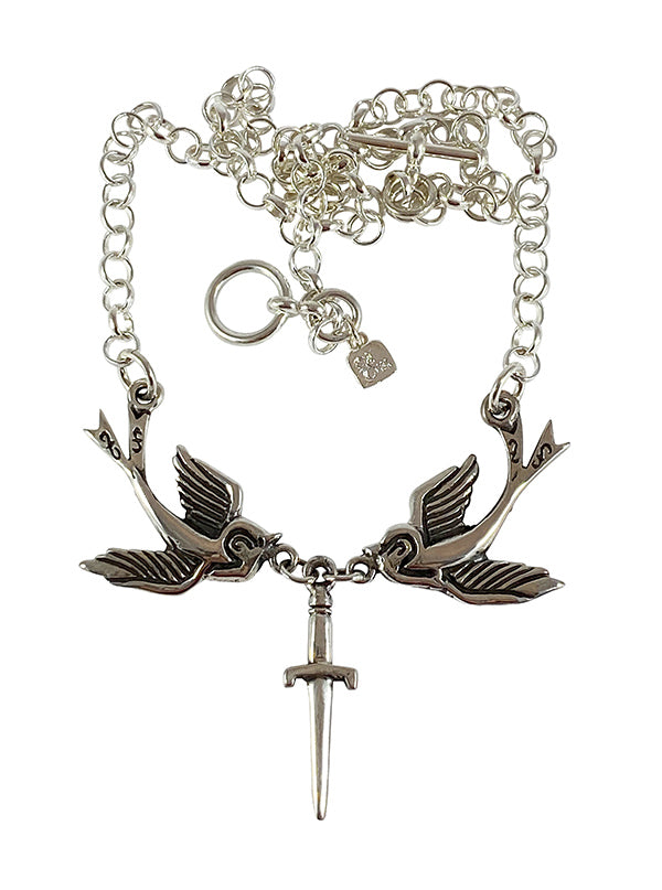 Dagger Swallows Necklace by Femme Metale