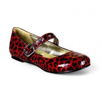 Red Glitter Cheetah Print Flat by Demonia - InkedShop - 1