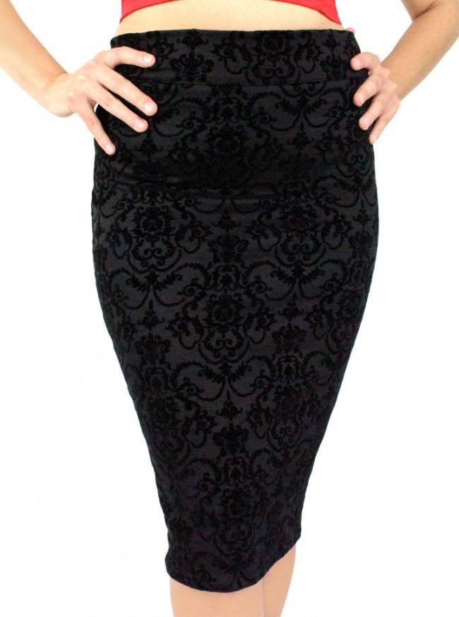 "Women's ""Damask High Waist"" Pencil Skirt by Hemet (Black) - www.inkedshop.com"
