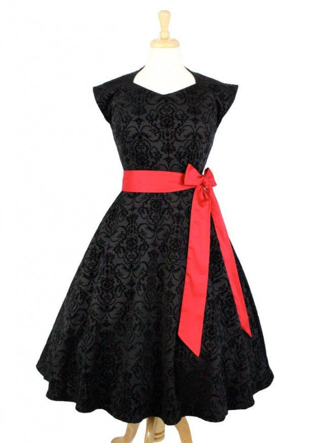 "Women's ""Damask Vintage"" Inspired Full Circle Dress by Hemet (Black) - www.inkedshop.com"