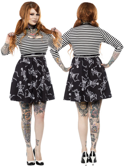 "Women's ""Dancing Skeletons"" Scoop Dress by Sourpuss (Black)"