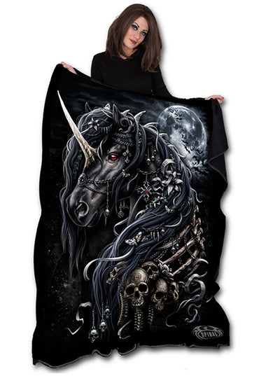 Dark Unicorn Fleece Blanket by Spiral USA