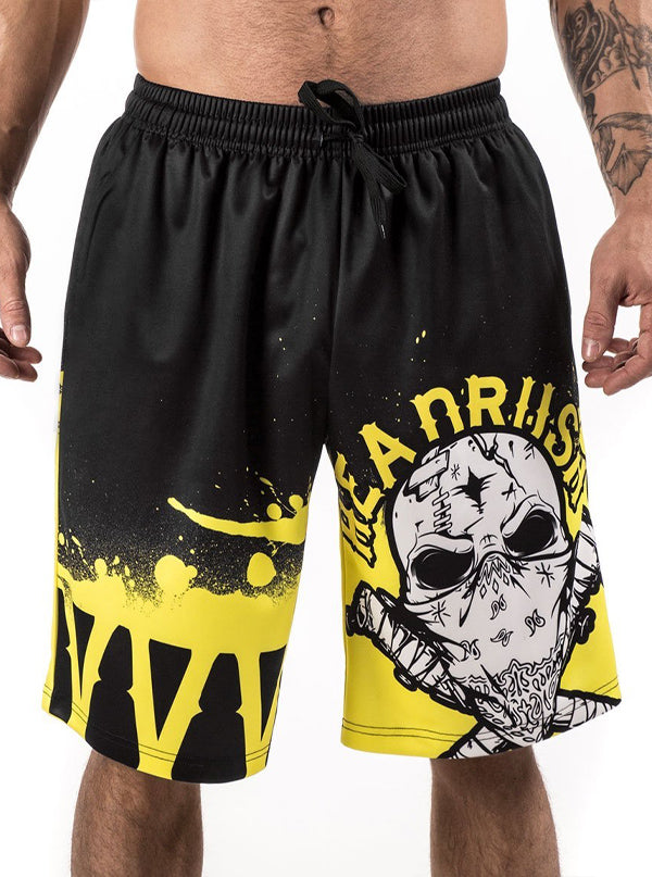 "Men's ""Dark Museum"" Basketball Shorts by Headrush Brand (Yellow)"