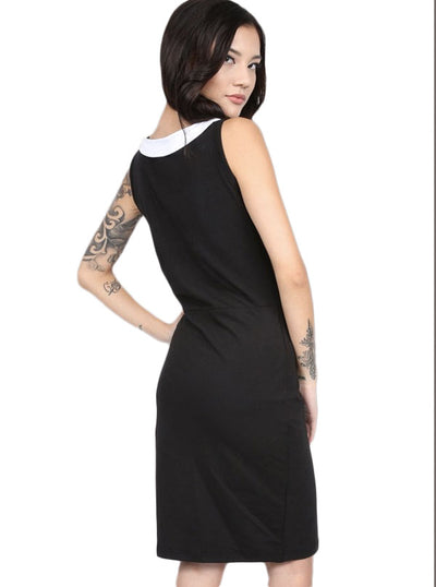 Women's Dark Doll Wednesday Collar Dress by Pretty Attitude Clothing (Black)