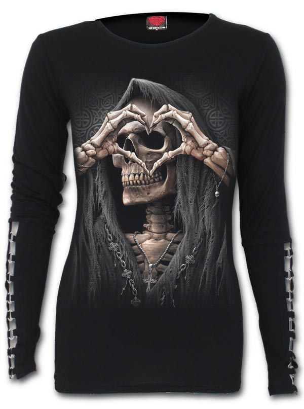 Women's Dark Love Buckle Cuff Long Sleeve Top by Spiral USA