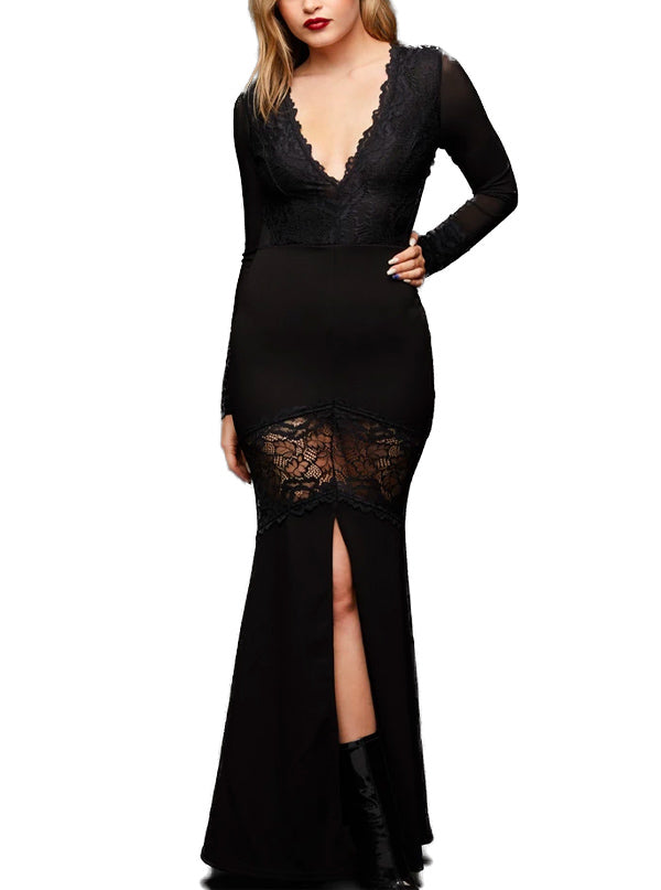 Women's Dark Mermaid Lace Dress by Pretty Attitude Clothing (Black)