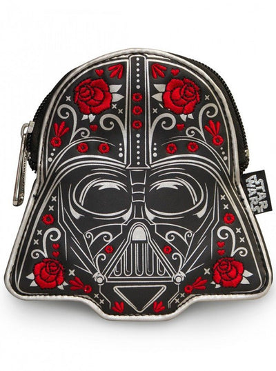 """Darth Vader Floral"" Faux Leather Coin Bag by Loungefly (Black) - www.inkedshop.com"