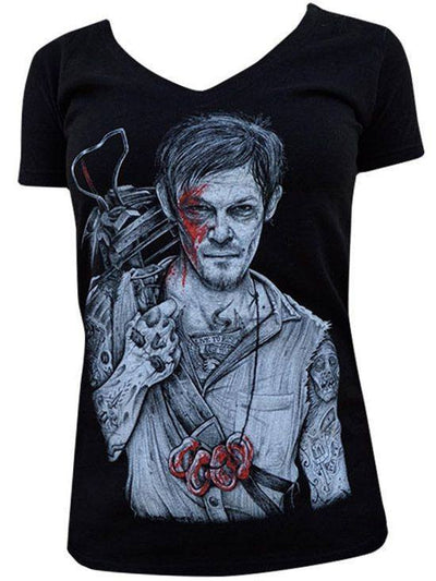 "Women's ""Daryl"" V-Neck Tee by Black Market Art (Black) - InkedShop - 1"